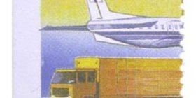 Alennuspostimerkit - Lentokone ja postirekka  postimerkki 1