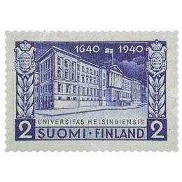 Helsingin Yliopisto 300 vuotta tummansininen postimerkki 2 markka