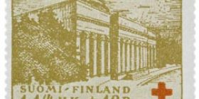 Helsingin yliopiston kirjasto oliivinkeltainen postimerkki 1