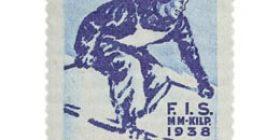 Hiihdon MM-kilpailut Lahdessa - Pujottelu sininen postimerkki 3