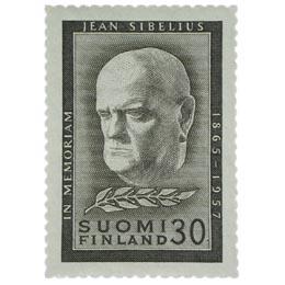 Jean Sibeliuksen surumerkki musta postimerkki 30 markka