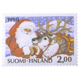 Joulupukki poroineen  postimerkki 2 markka