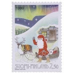 Joulupukki revontulien loisteessa  postimerkki 2