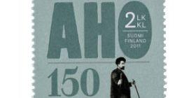 Juhani Aho 150 v - Aho suksilla  postimerkki 2 luokka