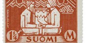 Kalevala 100 vuotta - Runonlaulajat tummankarmiini postimerkki 1