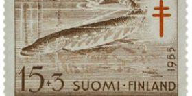 Kaloja - Hauki ruskea / punainen postimerkki 15 markka