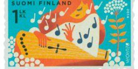 Kansallissoittimia - Kantele  postimerkki 1 luokka