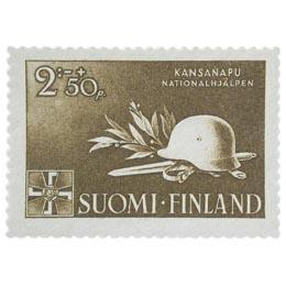 Kansanapu tummanruskea postimerkki 2 markka