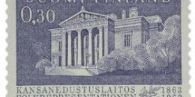 Kansanedustuslaitos 100 vuotta siniharmaa postimerkki 0