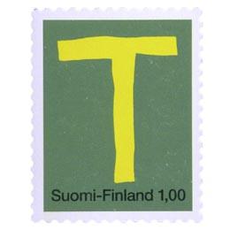 Kirjaimet - T  postimerkki 1 markka