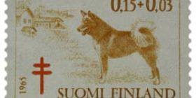 Koiria - Suomenpystykorva ruskeankeltainen / punainen postimerkki 0