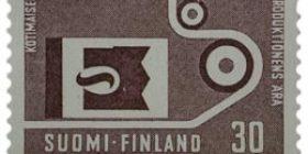 Kotimainen tuotanto harmaanlila postimerkki 30 markka