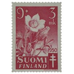 Kukkia - Kangasvuokko lilanpunainen postimerkki 9 markka