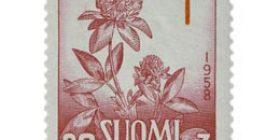 Kukkia - Puna-apila lilanpunainen / punainen postimerkki 20 markka