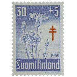 Kukkia - Ruiskaunokki sininen / punainen postimerkki 30 markka