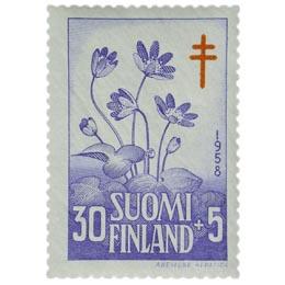 Kukkia - Sinivuokko sininen / punainen postimerkki 30 markka