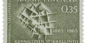 Kunnallinen itsehallinto 100 vuotta oliivi postimerkki 0