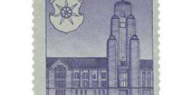 Lahti 50 vuotta harmaanvioletti postimerkki 25 markka