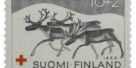 Lappi - Poroja harmaanruskea postimerkki 10 markka