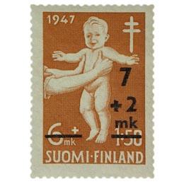 Lastenhuolto punainen postimerkki 7 markka