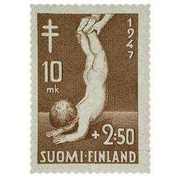 Lastenhuolto ruskea postimerkki 10 markka