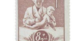 Lastenhuolto ruskeanlila postimerkki 8 markka