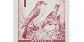 Lintuja - Harmaasieppo punainen postimerkki 15 markka