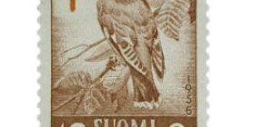 Lintuja - Tilhi punaruskea / punainen postimerkki 10 markka