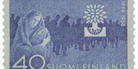 Maailman pakolaisvuosi sininen postimerkki 40 markka