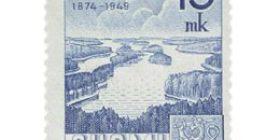 Maailmanpostiliitto 75 vuotta sininen postimerkki 15 markka
