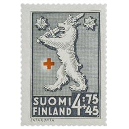 Maakuntien vaakunoita - Satakunta tummanharmaa postimerkki 4