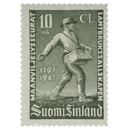 Maanviljelysseurat 150 vuotta harmaa postimerkki 10 markka