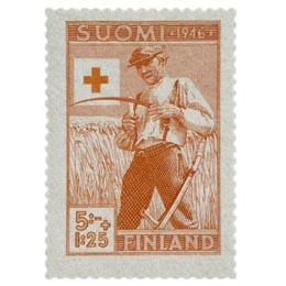 Maatalous punainen postimerkki 5 markka
