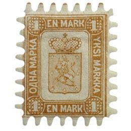 Malli 1866 kellanruskea postimerkki 1 markka