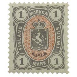Malli 1885 harmaa / punainen postimerkki 1 markka