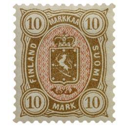 Malli 1885 ruskea / punainen postimerkki 10 markka