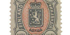 Malli 1889 harmaa / punainen postimerkki 1 markka