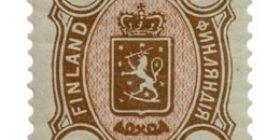 Malli 1889 ruskea / punainen postimerkki 10 markka