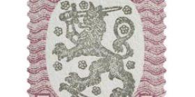 Malli 1917 Saarinen lila/musta postimerkki 5 markka