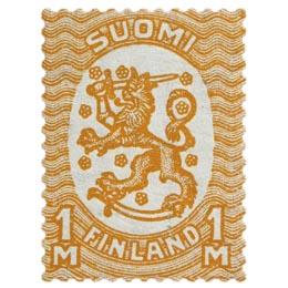 Malli 1917 Saarinen oranssi postimerkki 1 markka