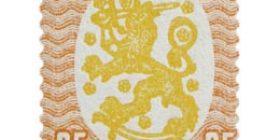 Malli 1917 Saarinen punainen / keltainen postimerkki 25 markka