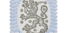 Malli 1917 Saarinen sininen / musta postimerkki 3 markka