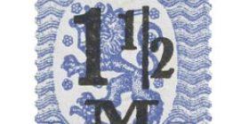 Malli 1917 Saarinen sininen postimerkki 1
