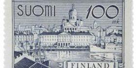 Malli 1930 Helsinki harmaansininen postimerkki 100 markka