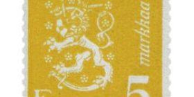 Malli 1930 Leijona keltainen postimerkki 5 markka