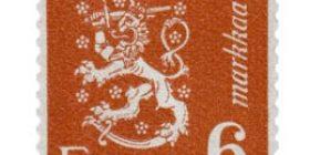 Malli 1930 Leijona punainen postimerkki 6 markka