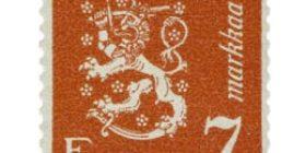 Malli 1930 Leijona punainen postimerkki 7 markka