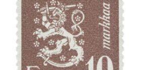 Malli 1930 Leijona ruskehtavanlila postimerkki 10 markka