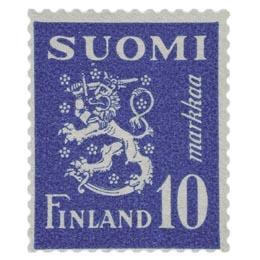 Malli 1930 Leijona sininen postimerkki 10 markka