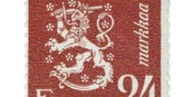 Malli 1930 Leijona violetinpunainen postimerkki 24 markka